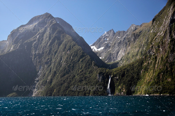 Mountains in the Milford Sound - Stock Photo - Images