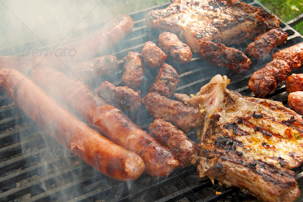 Meat On Barbecue - Stock Photo - Images