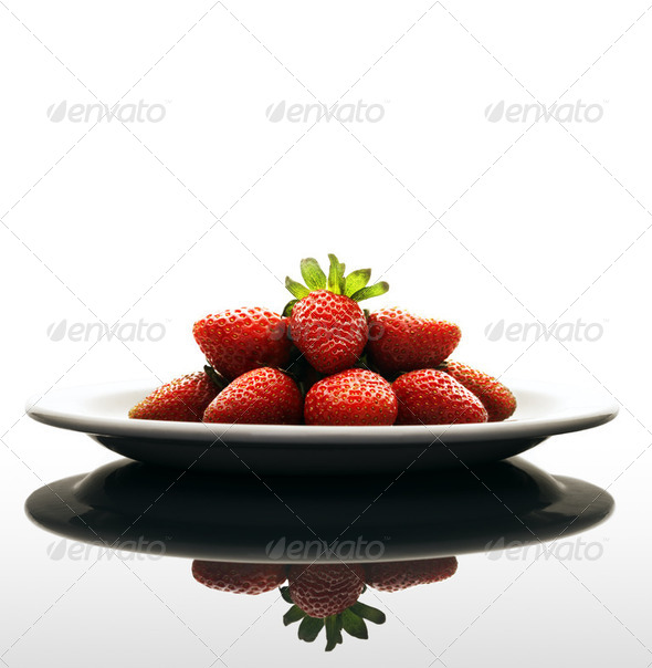 Fresh strawberries on Plate - Stock Photo - Images