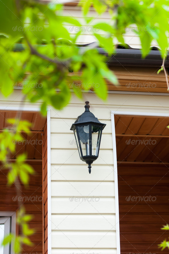 lantern on the wall - Stock Photo - Images
