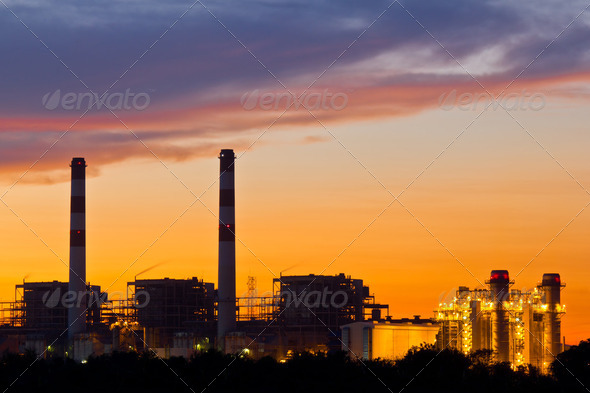 Gas turbine electrical power plant at dusk - Stock Photo - Images