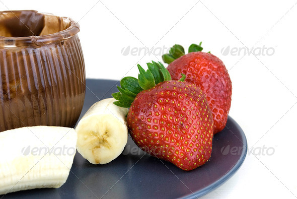 strawberries bananas and chocolate - Stock Photo - Images