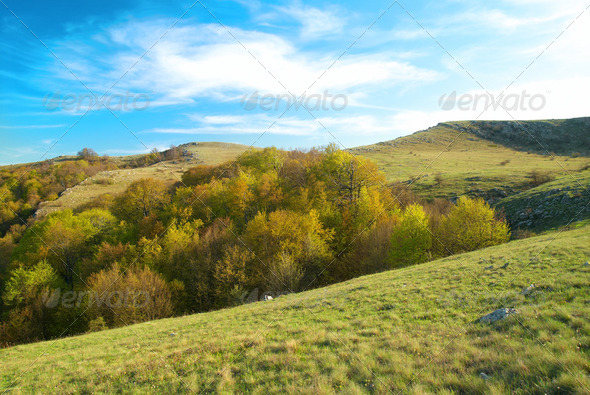 Hills with cloudscape - Stock Photo - Images