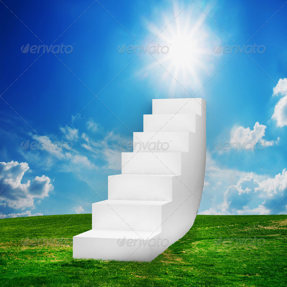 White stairs on the field. Way to success - Stock Photo - Images