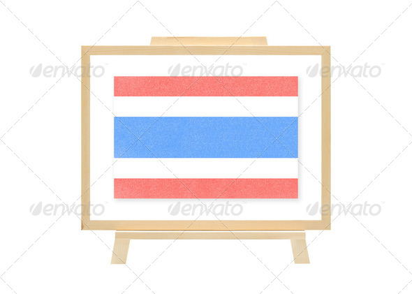 Thailand nations flag cork board (clipping path) - Stock Photo - Images