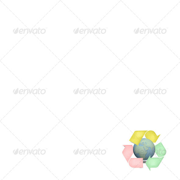 Color recycle logo with globes craft isolate - Stock Photo - Images