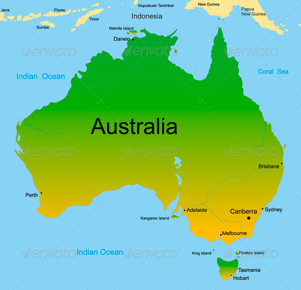 map of australian continent - Stock Photo - Images