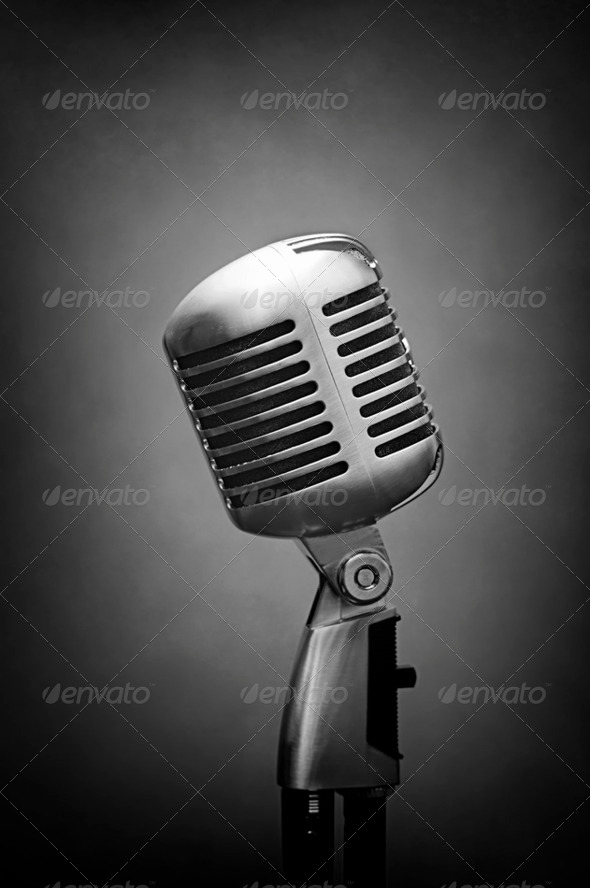 vocal studio microphone grey - Stock Photo - Images