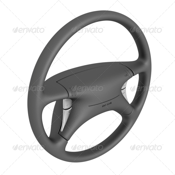Black steering wheel - Stock Photo - Images