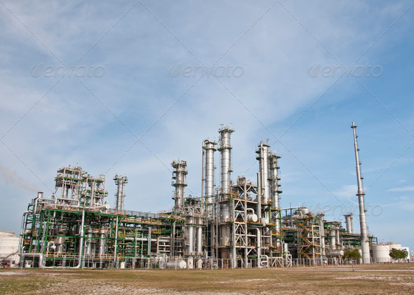 Chemical plant in summer day - Stock Photo - Images