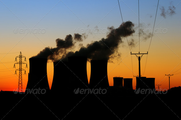 Nuclear power plant during sunset - Stock Photo - Images
