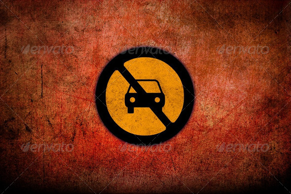 Grungy Road Sign Glossy  - Stock Photo - Images