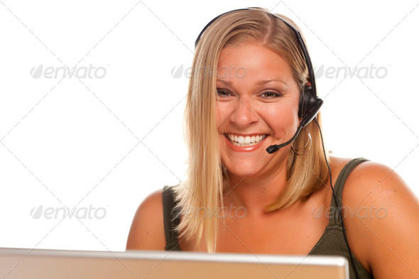 Beautiful Friendly Female Customer Support Phone Operator in Front of a Computer Screen on White - Stock Photo - Images