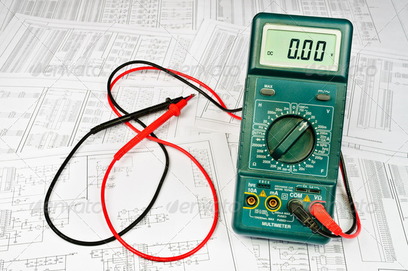 Several schemes of electric and electrical tester - Stock Photo - Images
