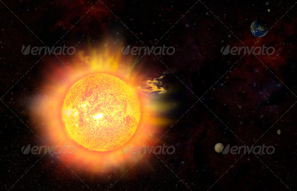 eruption - solar storm - Stock Photo - Images