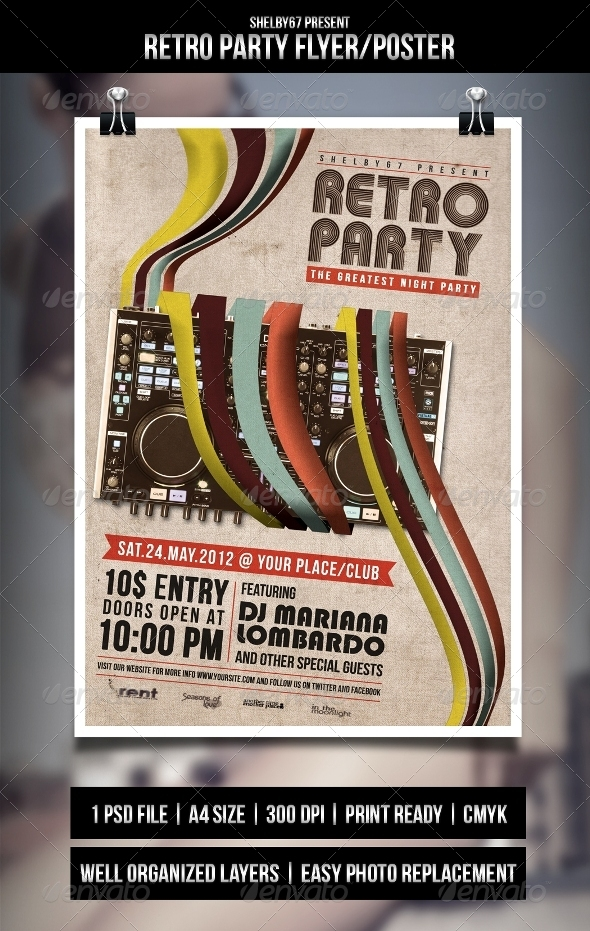 Retro Party Flyer/Poster - Clubs &amp; Parties Events
