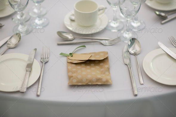 dinner setting at a wedding - Stock Photo - Images