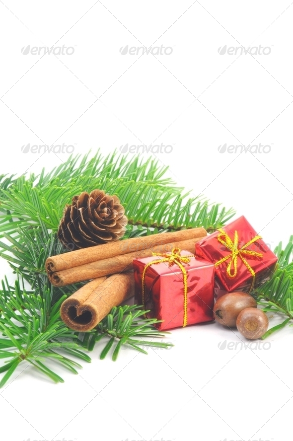 christmas branch with ball - Stock Photo - Images