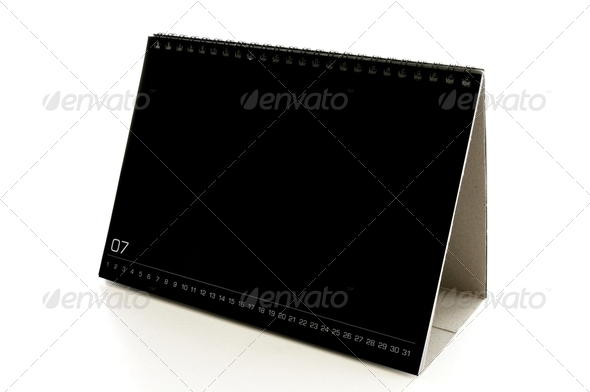 blank black desk calendar - Stock Photo - Images