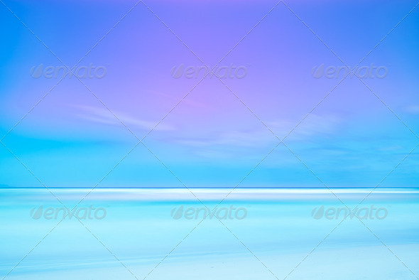 Long exposure photography 2 minutes. Soft sea and blue sky. - Stock Photo - Images