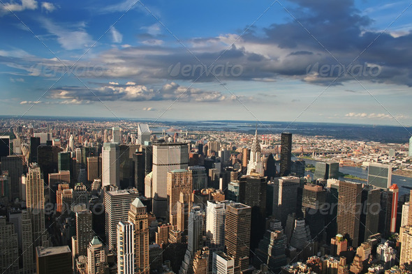 New York City Manhattan aerial - Stock Photo - Images