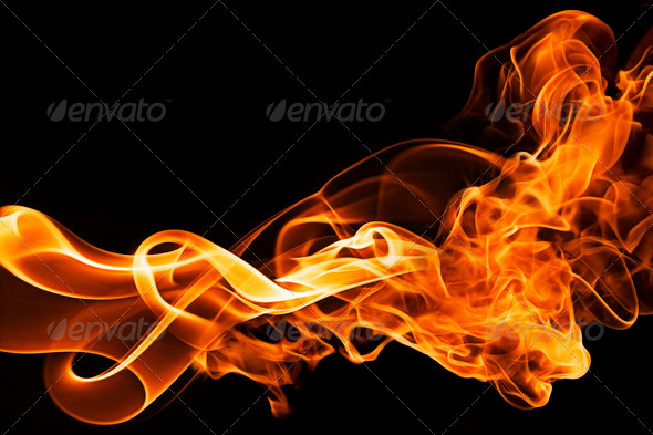 fire and smoke on a black background - Stock Photo - Images