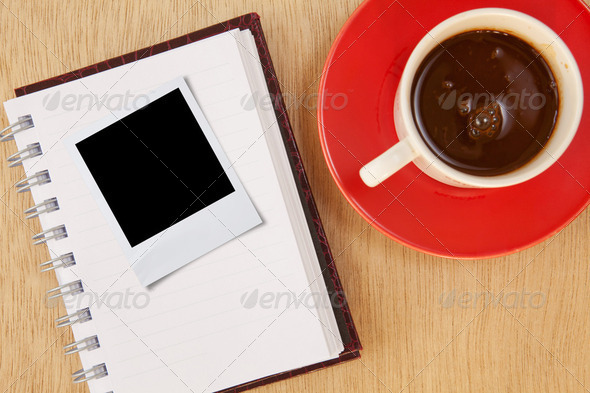 cup and photo frame - Stock Photo - Images