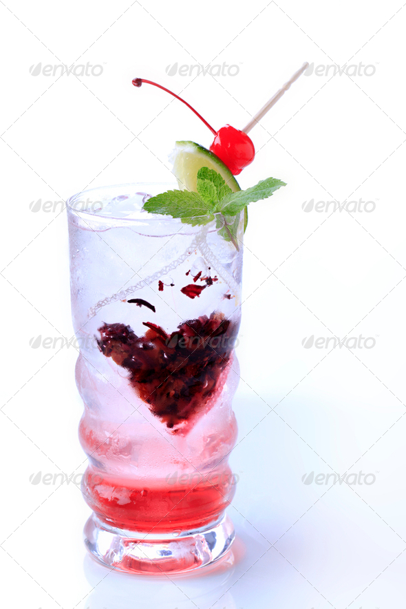 Glass of iced drink - Stock Photo - Images