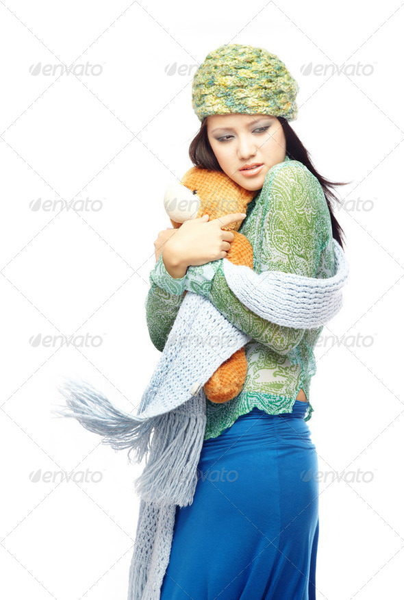 Lady with Teddy Bear - Stock Photo - Images