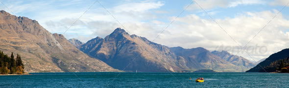 Lake Wakatipu of Queenstown New Zealand Panorama - Stock Photo - Images
