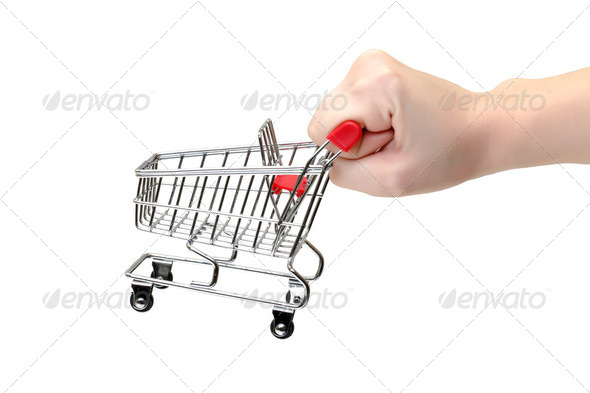 Shopping Cart with Hand - Stock Photo - Images