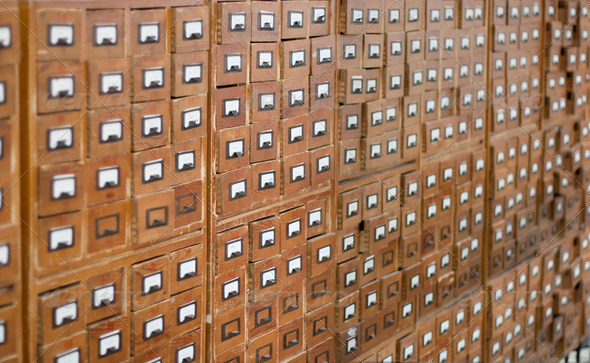 Old wooden card catalogue - Stock Photo - Images