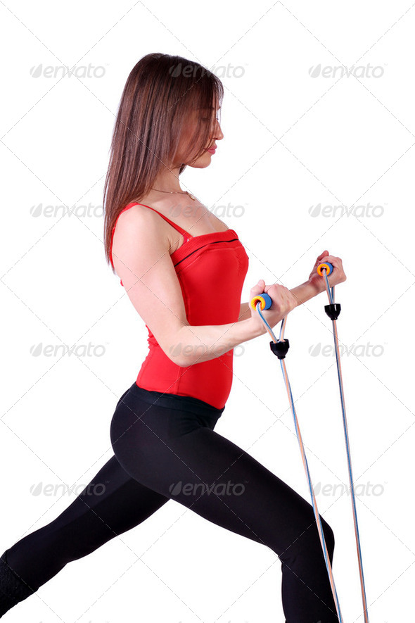 Healthy lifestyle girl fitness exercise - Stock Photo - Images