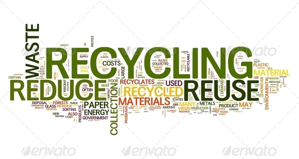 Recycling in word tag cloud - Stock Photo - Images