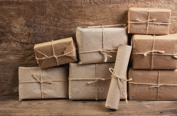 stack parcel  in warehouse - Stock Photo - Images