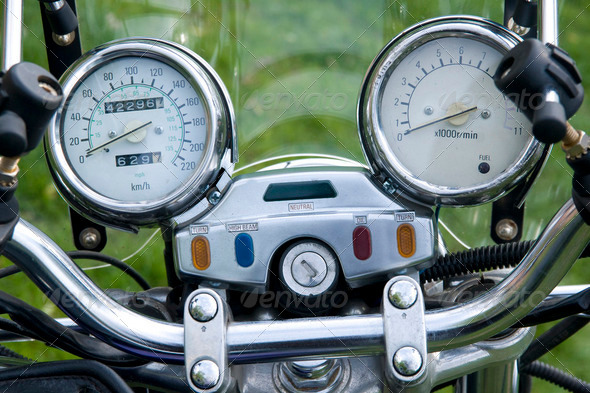 Motorcycle speedometer bord close up - Stock Photo - Images