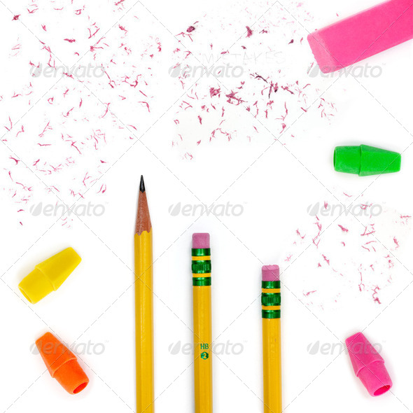Pencils, erasers & bits - Stock Photo - Images