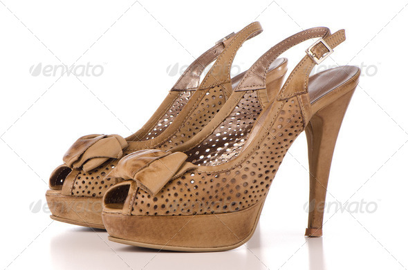 Brown high heel women shoes - Stock Photo - Images