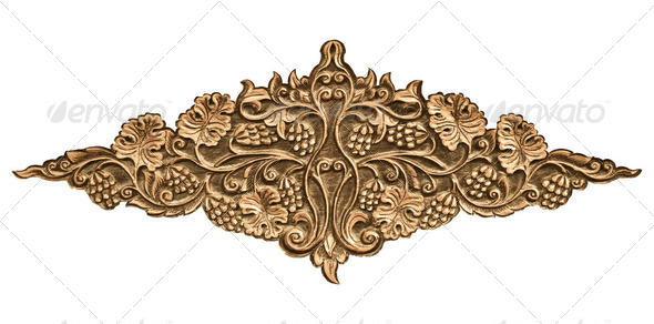 flower carved on wood - Stock Photo - Images