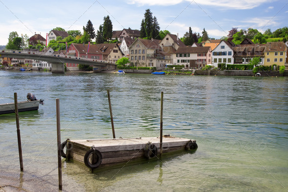 Mooring for boats on the river Rhine. Stein Am Rhein. Switzerland. Europe - Stock Photo - Images