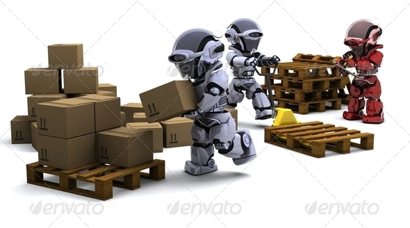 Robot with Shipping Boxes - Stock Photo - Images