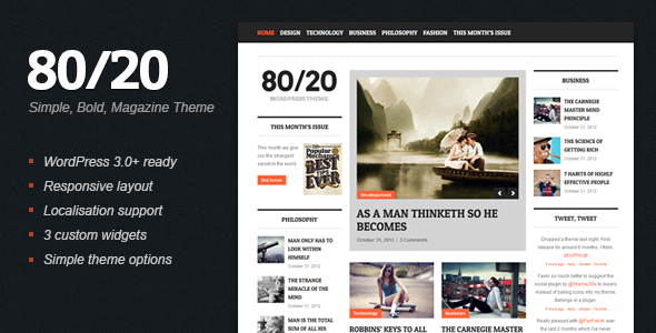 ThemeForest 80 20 WordPress Magazine Theme 3331307