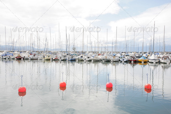Yachts and boats in marina of Ouchi, Switzerland - Stock Photo - Images