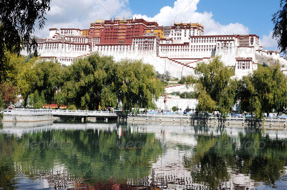 Landmark of the famous Potala Palace in Lhasa, Tibet - Stock Photo - Images