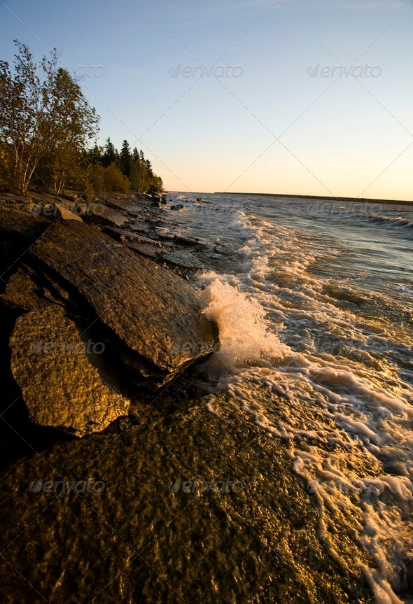 Quarry at Hecala Island Manitoba - Stock Photo - Images