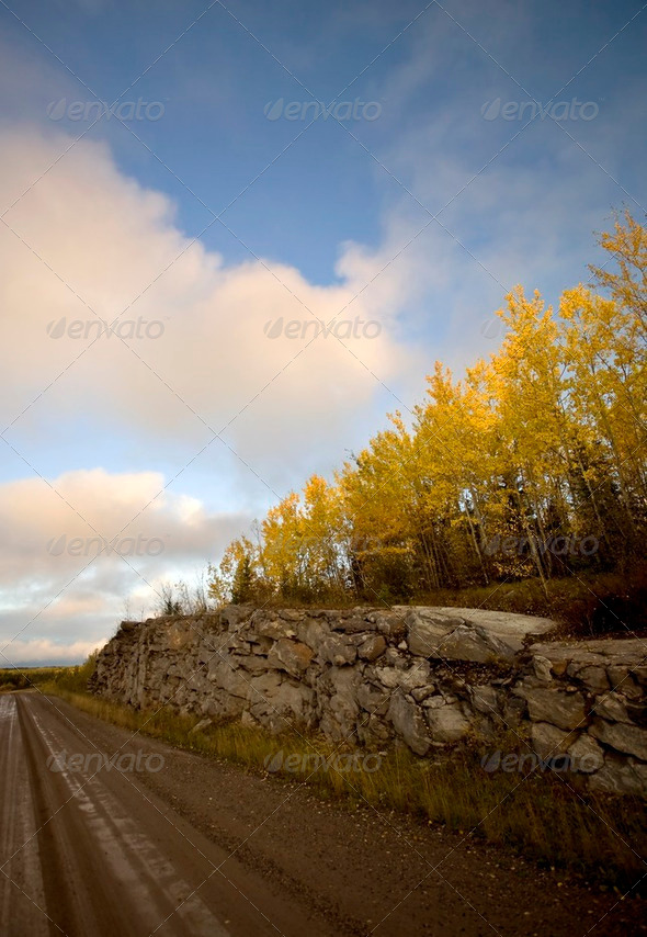 Northern Manitoba road in autumn - Stock Photo - Images