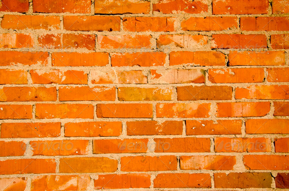Background of red brick wall fragment. - Stock Photo - Images