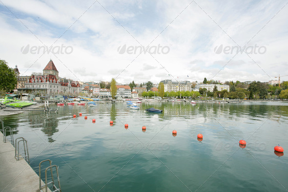 Ouchy port and Chateau, Lausanne, Switzerland - Stock Photo - Images