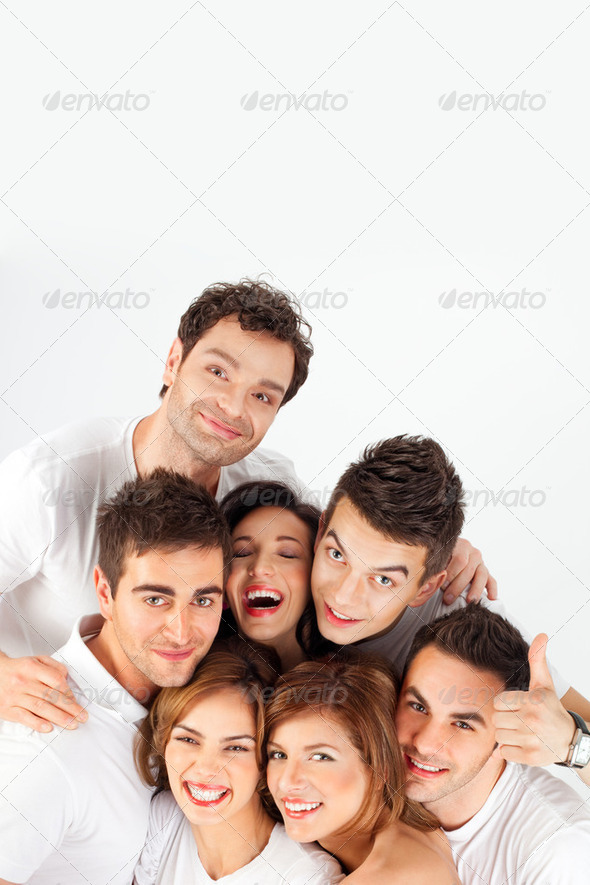 smiling happy friends - Stock Photo - Images