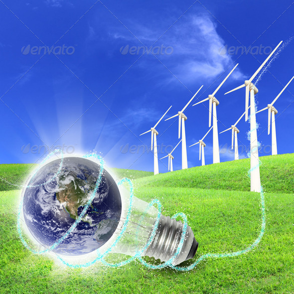 Wind turbines farm energy production to the world - Stock Photo - Images